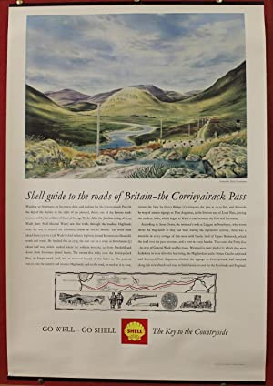 Poster - Shell Guide to the Roads of Britain: the Corrieyairack Pass. Colour process engraving an...