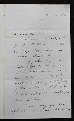 Autograph letter signed to the geologist William: LYELL, SIR CHARLES