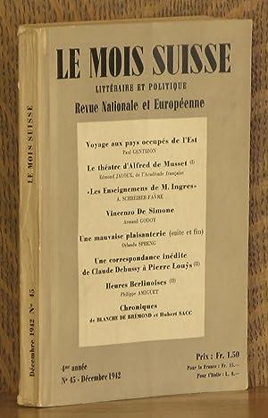LE MOIS SUISSE LITERATURE ET POLITIQUE, REVUE: Paul Gentizon, Edmond