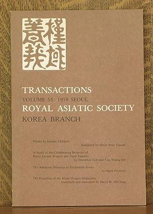 TRANSACTIONS ROYAL ASIATIC SOCIETY - KOREA BRANCH: Helen Rose Tieszen,