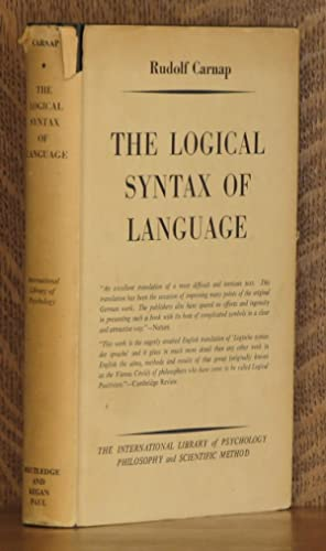 THE LOGICAL SYNTAX OF LANGUAGE: Rudolf Carnap