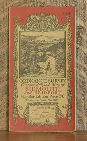 ORDNANCE SURVEY CONTOURED ROAD MAP OF SIDMOUTH AND BRIDPORT Popular edition Scale 1 inch to 1 mile-...