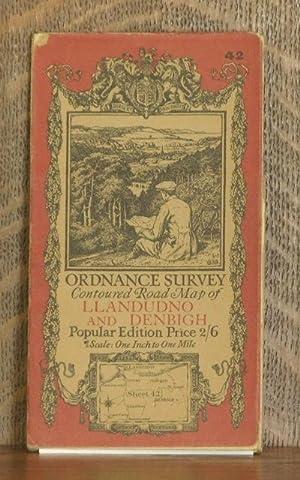 ORDNANCE SURVEY CONTOURED ROAD MAP OF LLANDUDNO AND DENBIGH Popular edition Scale 1 inch to 1 mile-...