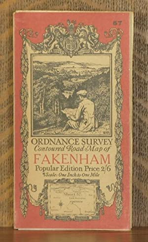 ORDNANCE SURVEY CONTOURED ROAD MAP OF fakenham Popular edition Scale 1 inch to 1 mile- Sheet # 57: ...