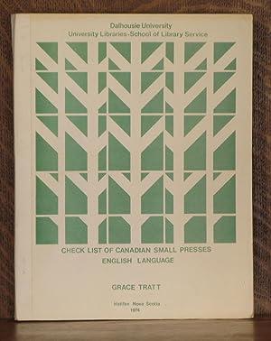 CHECK LIST OF CANADIAN SMALL PRESSES ENGLISH LANGUAGE: Grace Tratt