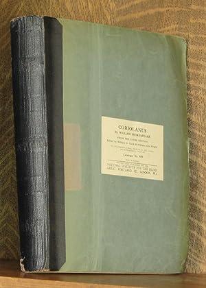CORIOLANUS (Braille edition): William Shakespeare, edited by William G. Clark and William Aldis ...