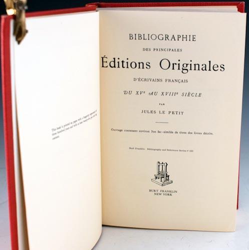 Bibliographie des Principales Éditions Originales D'Écrivains Français du...
