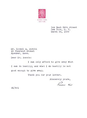 Typed Letter, signed: Kent, Rockwell