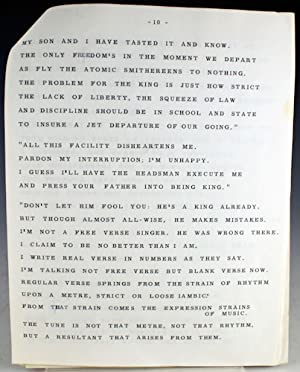 """Typescript Lectern Copy of """"Hard Not to be King"""": Frost, Robert"""