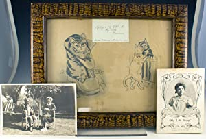 Original pencil drawing of three cats, executed with the artist's toes