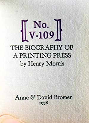 No. V-109. The Biography of a Printing Press: Morris, Henry