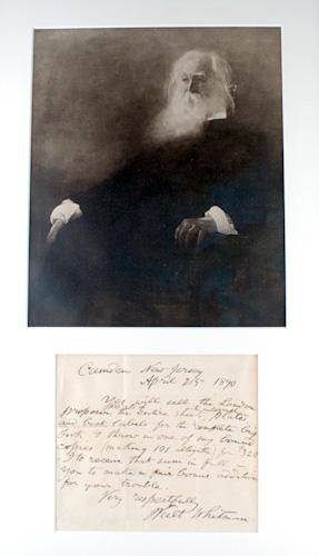 Manuscript letter and portrait: Whitman, Walt