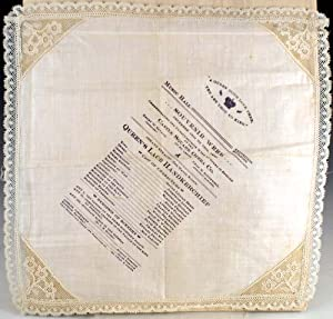 Theater program for Queen's Lace Handkerchief printed on lace handkerchief: Strauss, Johann