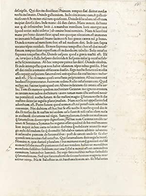 A Leaf from the Published Work of Nicolas Jenson, Printer 1472