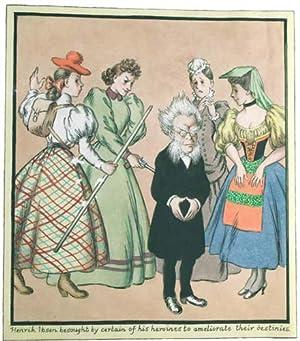 Original Watercolor of Henrik Ibsen and Four of his Heroines