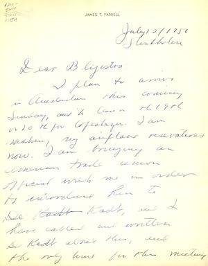 Autograph letter, signed: Farrell, James T.