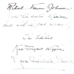 Leaf signed by Kate Douglas Wiggin and Nora Archibald Smith: Wiggin, Kate Douglas