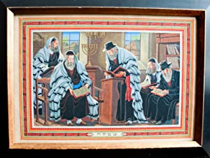 Tefillah, Original painting of a group of five men praying in the synagogue
