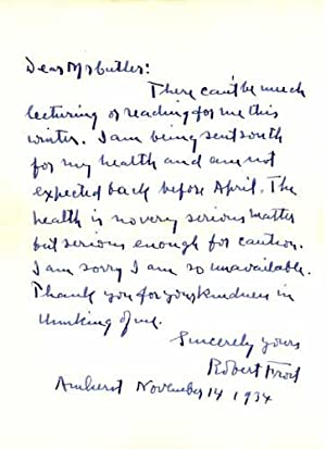 Autograph letter, signed: Frost, Robert