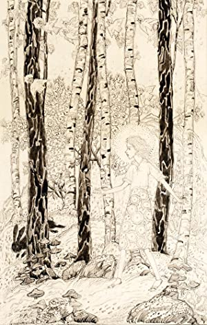 AN ORIGINAL PEN INK AND WASH DRAWING Walking in the Woods: KING, Jessie M.