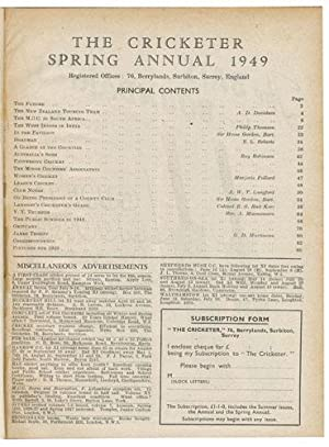 THE CRICKETER Vol. XXX, 1949.: CRICKET]