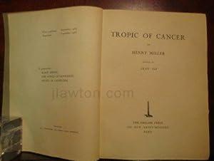 Tropic of Cancer by Henry Miller ;: Miller, Henry
