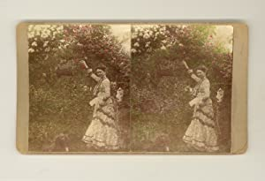 Antique Stereoscope Card 1901 Non-Commercial Hand-Tinted Color Photograph of Lovely Genteel Edwar...