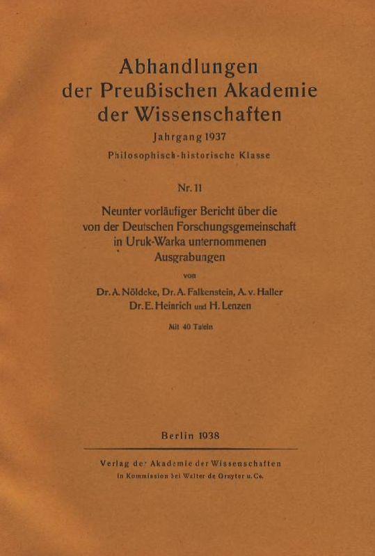 Neunter vorläufiger Bericht über die von der: Nöldeke, Arnold u.a.: