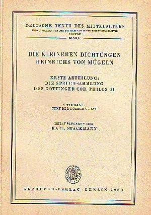 Die kleineren Dichtungen Heinrichs von Mügeln. Erste Abteilung: Die Spruchsammlung des Gö...