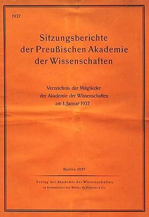 Sitzungsberichte der Preussischen Akademie der Wissenschaften, Jahrgang 1937. Vier Hefte (alles). ...
