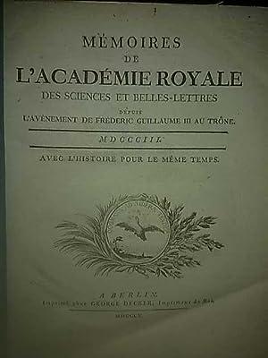 Mémoires de l'Académie royale des sciences et belles-lettres année ...