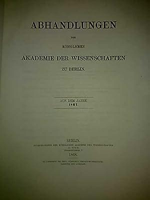 Abhandlungen der Königlichen Akademie der Wissenschaften zu Berlin. Aus dem Jahre 1867.: H. ...