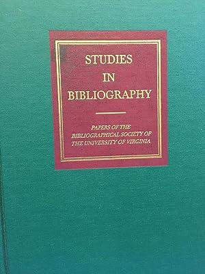 Studies in Bibliography: Papers of the Bibliographic: Vander Meulen, David