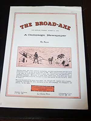 The Broad-Axe: A Campaign Newspaper. Los Angeles, Tuesday, August 31, 1875. A California Heritage...