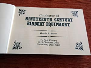 Catalogue of Nineteenth Century Bindery Equipment.
