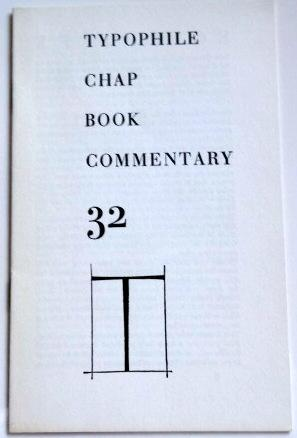 Typophile Chap Book Commentary 32.