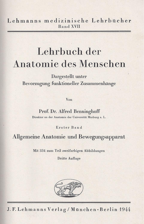 lehrbuch der anatomie des menschen allgemeine anatomie ...
