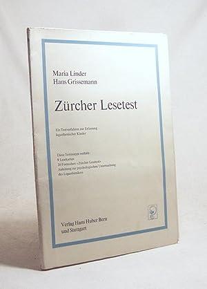 Zürcher Lesetest : Ein Testverfahren z. Erfassung: Linder, Maria /