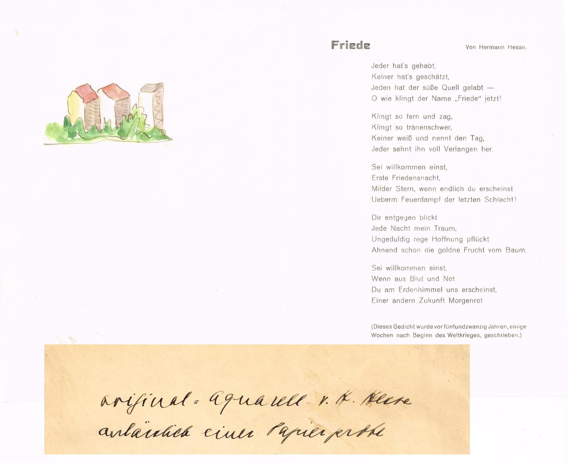 "Original-Aquarell mit Gedicht ""Friede"".: Hesse, Hermann."