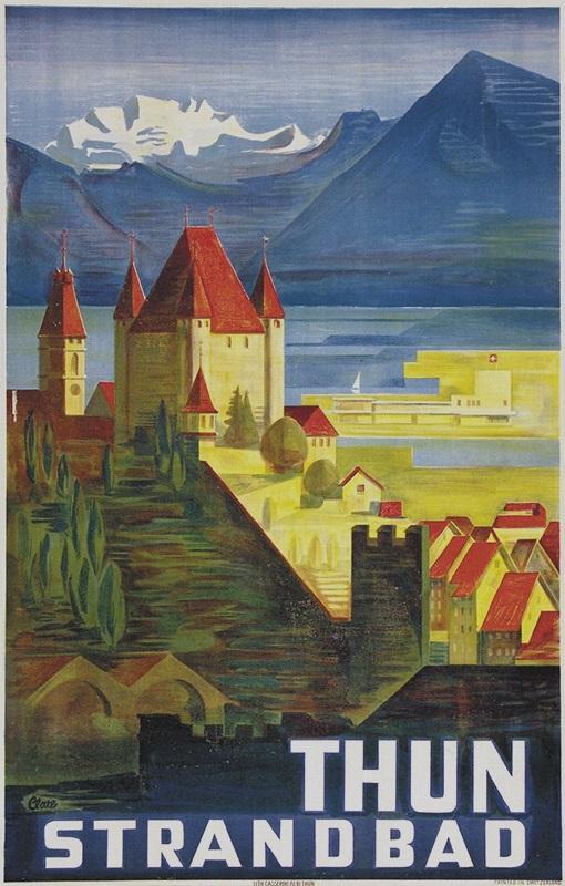 Thun Strandbad. (Lido). Farbige Original-Lithographie.: Thun - Clare, Etienne (1901-1975).