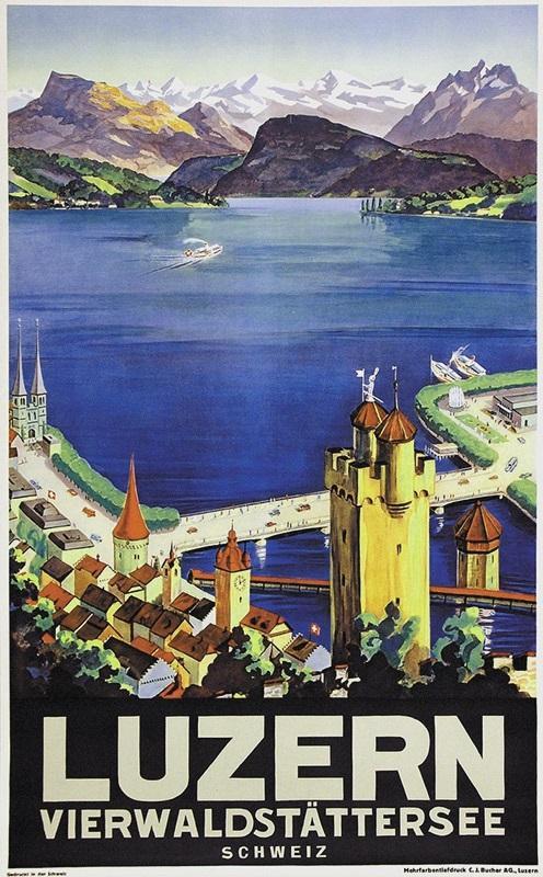Luzern Vierwaldstättersee. Mehrfarbiger Tiefdruck.: Luzern - Landolt, Otto (1889-1951).