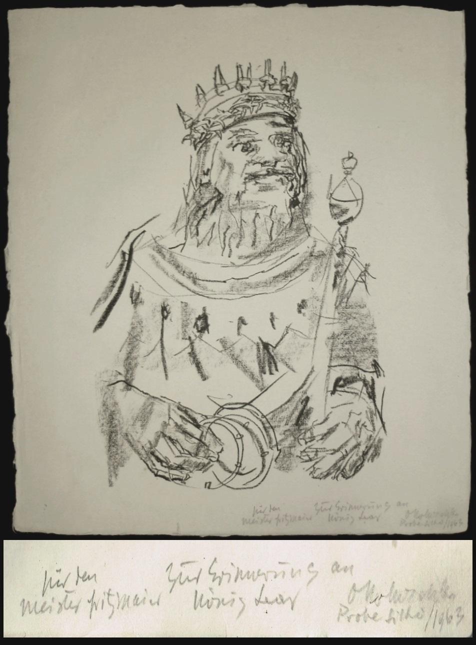 """17 Originallithographien zu """"King Lear"""", jede Lithographie: Kokoschka, Oskar."""