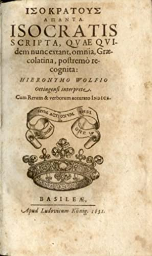 Isocratous hapanta (gr.). Isocratis scripta, quae quidem: Altphilologie - Isokrates.