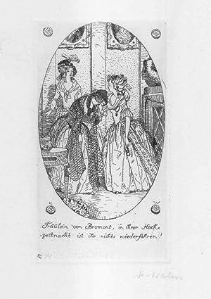 """Original-Radierung aus der Suite zu """"Die Abenteuer des Chevalier Faublas"""" von Jean ..."""