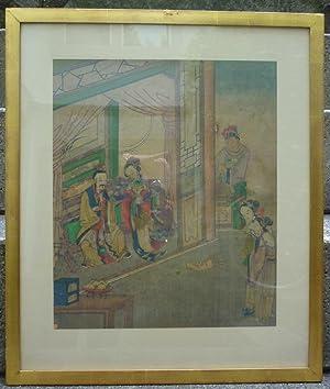 Szene am Hof mit Dienern. Tusch und Mischtechnik auf Seide. 19. Jahrhundert.: China. ...