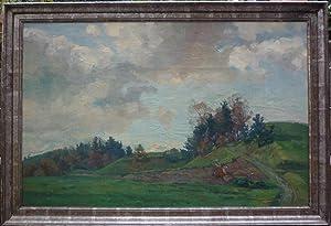Landschaft mit Feldarbeiter. Oel auf Leinwand.: Marxer, Alfred (1876-1945).