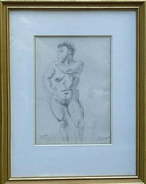 Stehender Frauenakt. Original-Bleistiftzeichnung.: Pascin, Jules (1885-1930).