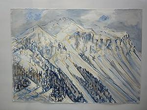 Lenzerhorn im Schnee. Original-Aquarell.: Waser, Heini (1913-2008).