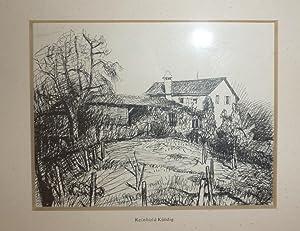 Haus und Atelier Kündigs auf dem Horgenberg. Original-Tusch-Zeichnung.: Kündig, Reinhold (1888...