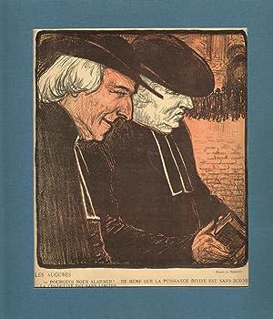Les Augures. Getönte Original-Lithographie (zeigt 2 Pfarrern miteinander redend).: Steinlen, ...